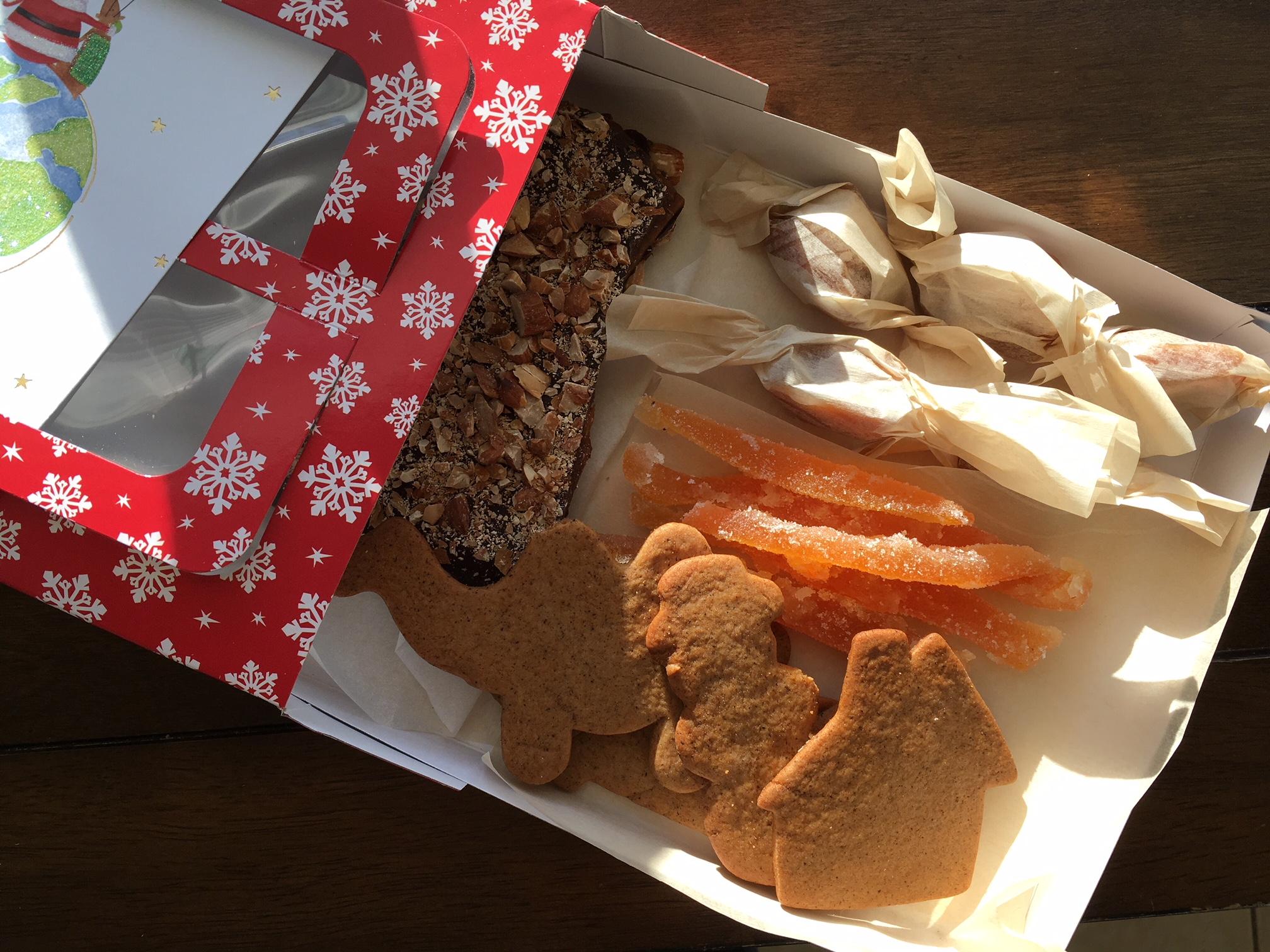A finished box: 4 kinds of homemade treats