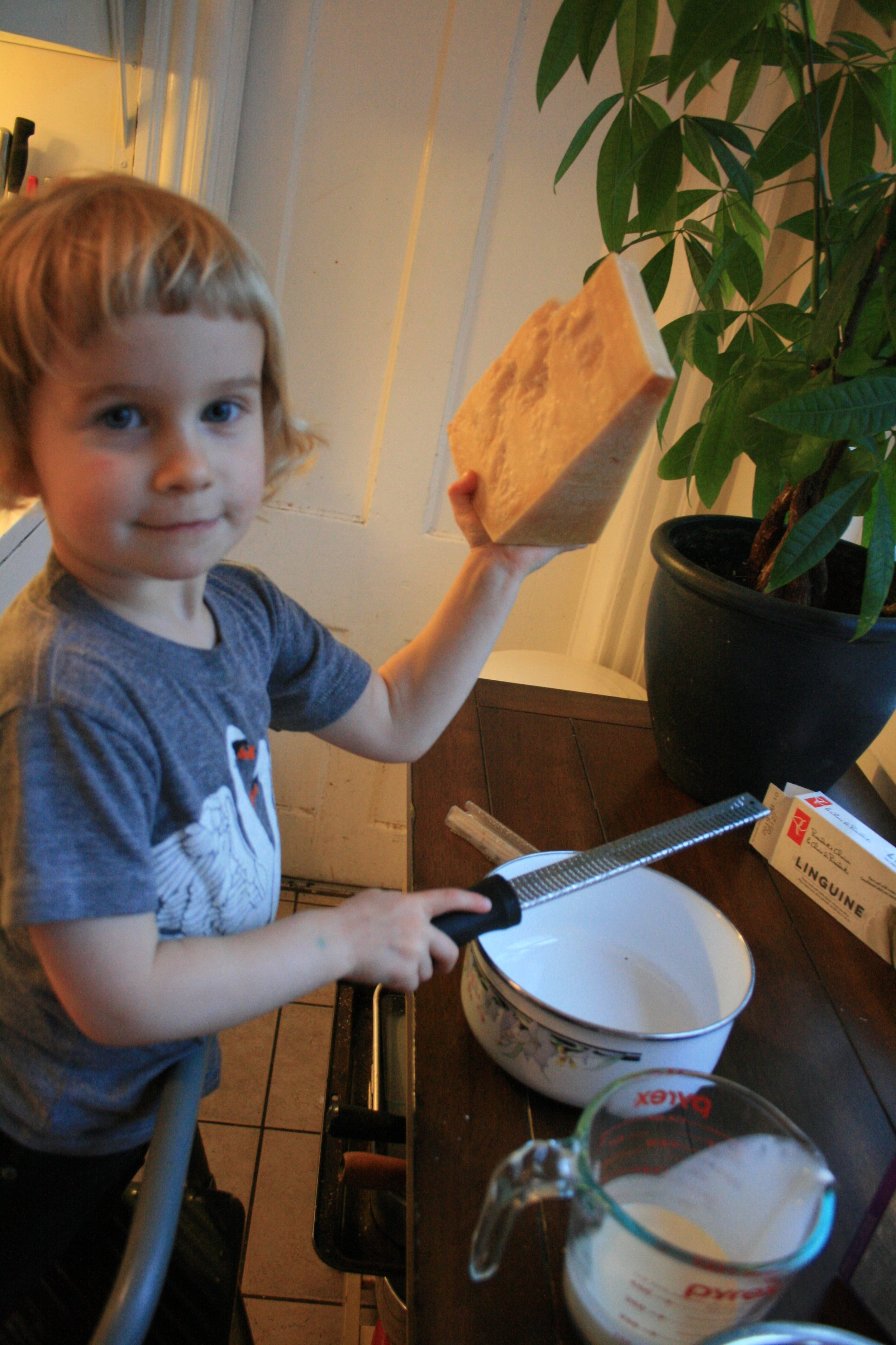 I need to buy smaller pieces of parmesan so my 3-year-old can hold them for longer than 1 photo