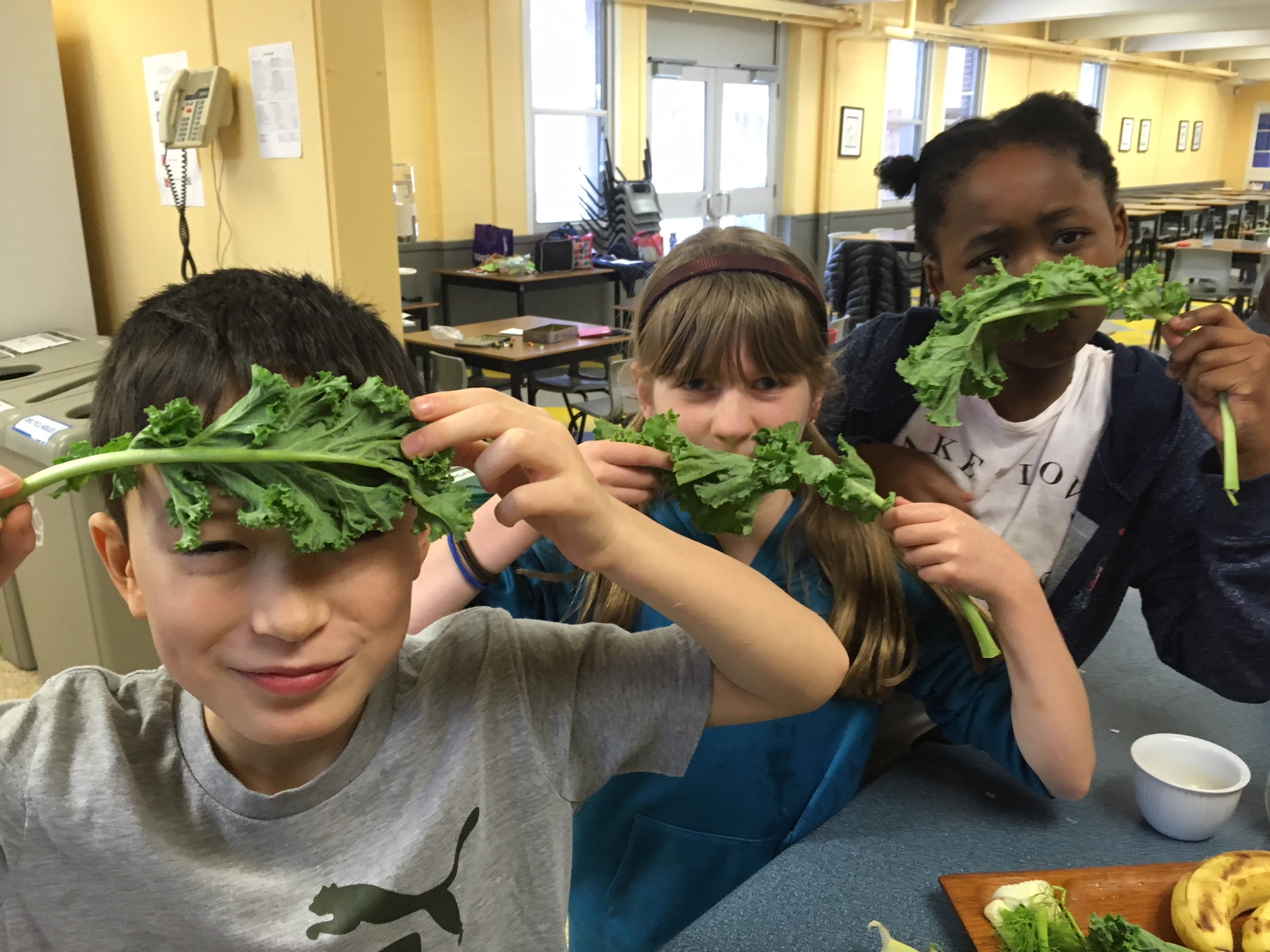 moustaches and a unibrow, made with kale