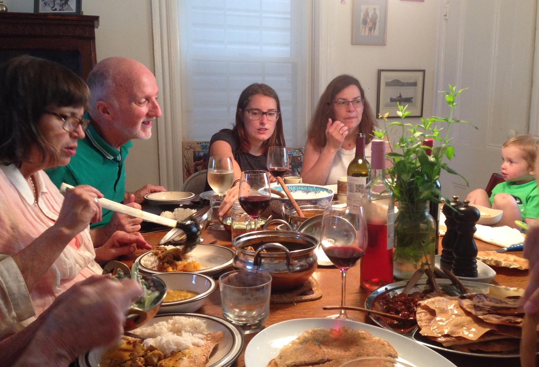 Multi-generational dinner table