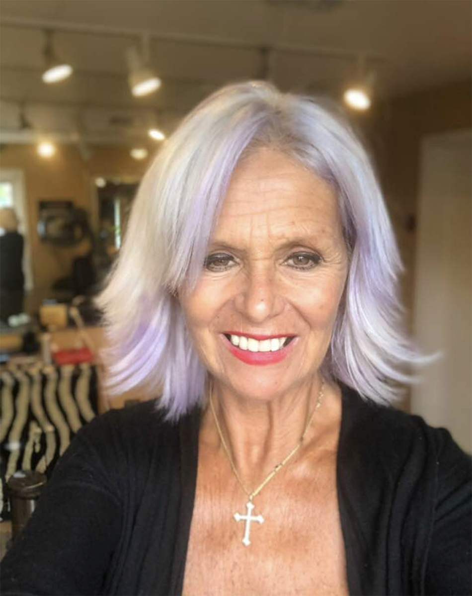 Platinum blonde hair color with purple