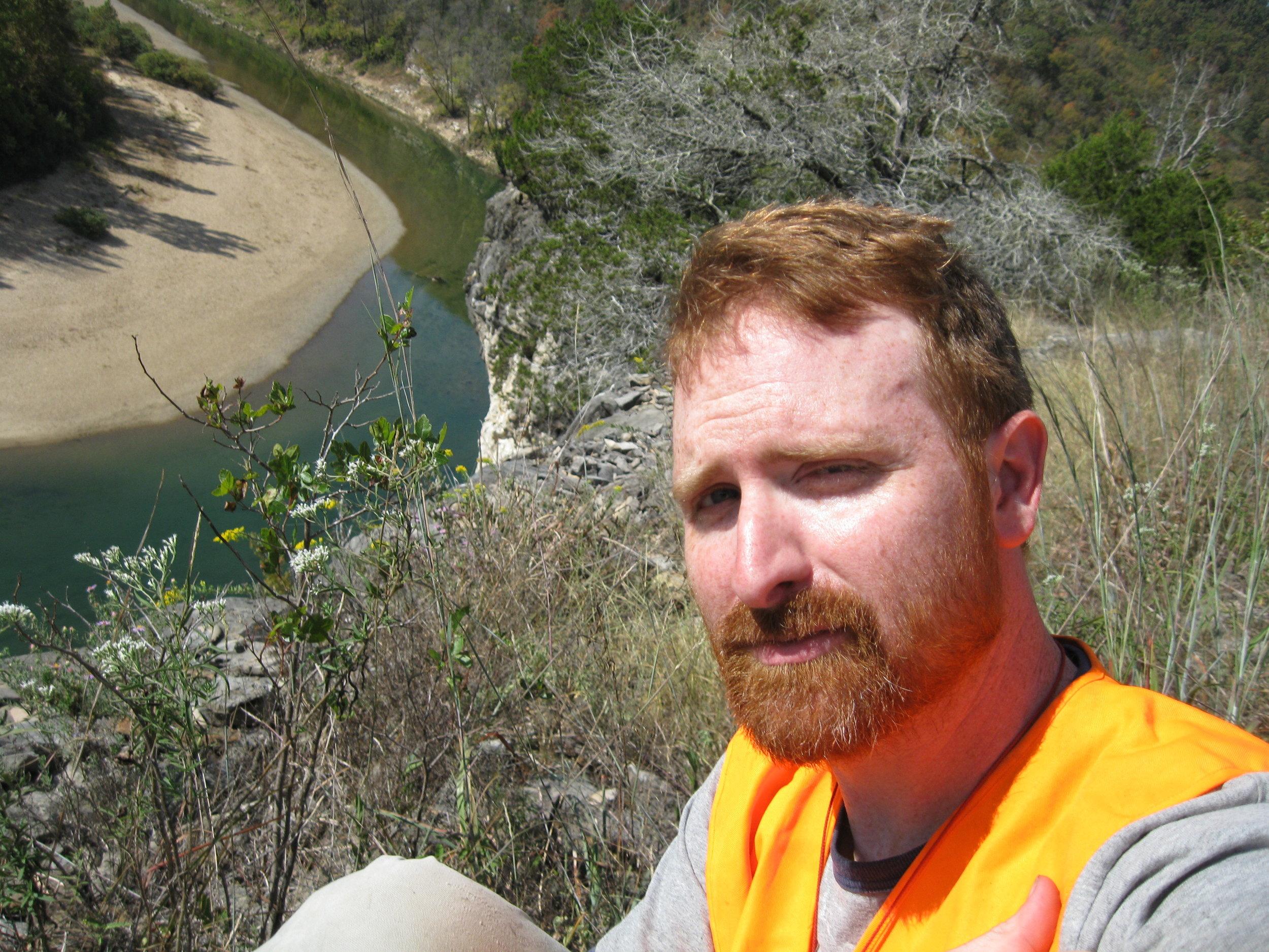 Theo Witsell atop Woodcock Bluff. Lower Buffalo Wilderness Area. Buffalo National River.