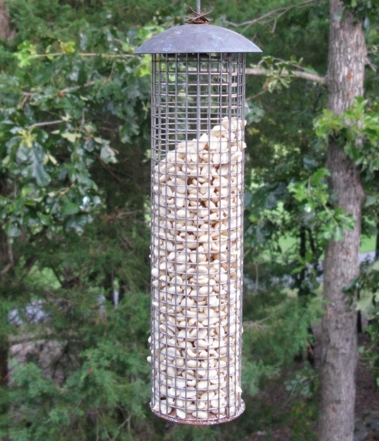 Large Mesh Feeder filled with peanuts.