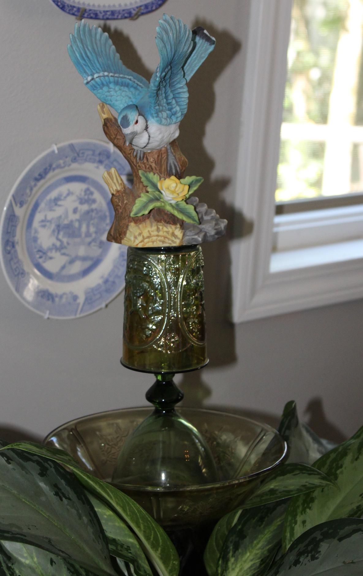 Vintage glass garden art by Judy Nowak.