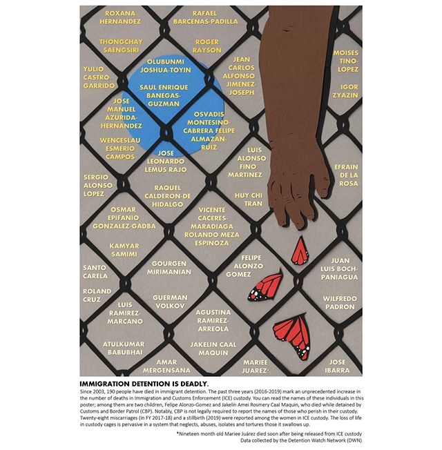 IMMIGRATION DETENTION IS DEADLY --- check out this print by @Justseeds artist Madhuri Shukla -- We continue to say the names of all those who have been murdered by the prison industrial complex that includes detention centers. #ABOLISHICE #enddetentionnow #saytheirnames