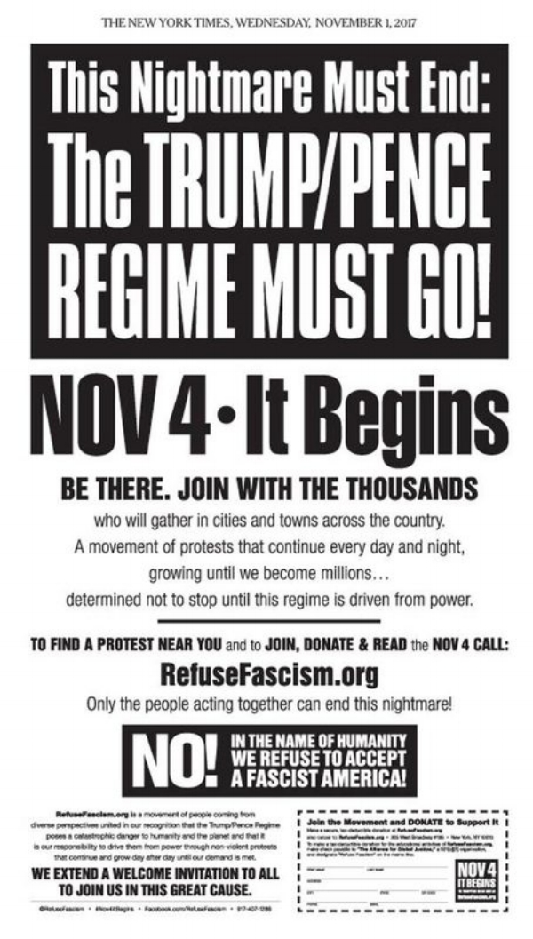 Above: Anti-FA front group advertisement. This is a common practice of leftists to confuse opponents and to provide cover for supporters like the New York Times.