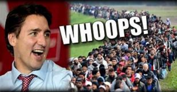 """Above: Justin """"The Weasel"""" Trudeau: Destroying Canada one mass migration at a time. Not surprisingly he has teamed up with Europe's """"Rapist-in-Chief"""", Angela Merkel and John """"The Traitor"""" M Cain."""
