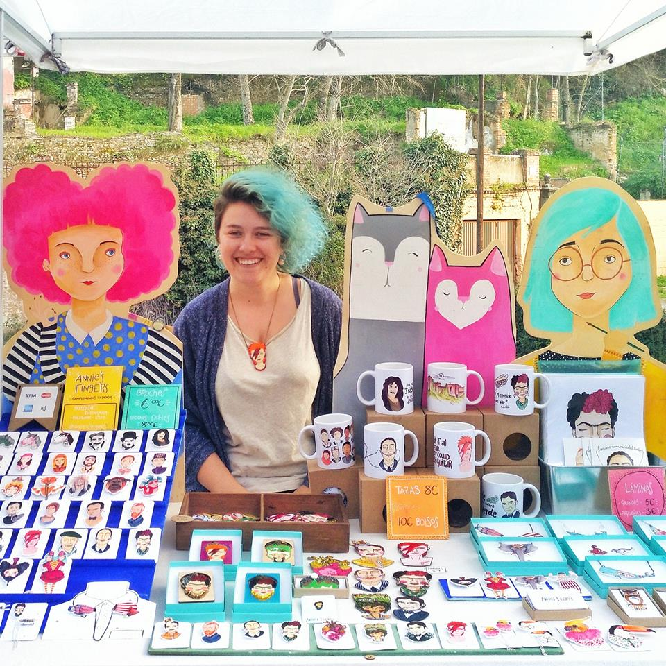 Sarah Clair Doyle, AKA Annie's Fingers: all smiles on market day in Granada!