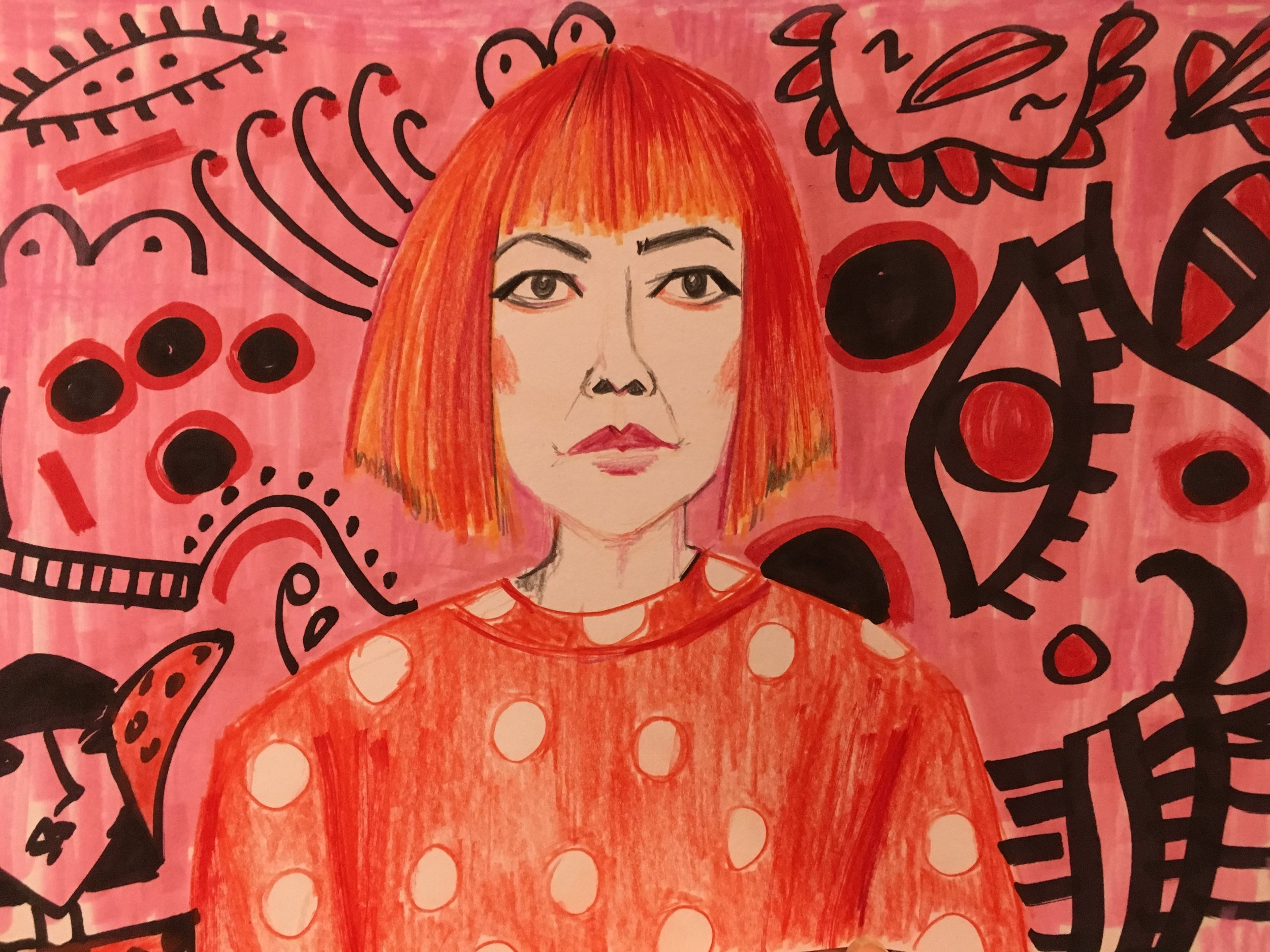 Week 2 Day 4: Draw something Kusama-inspired, or draw the woman herself!