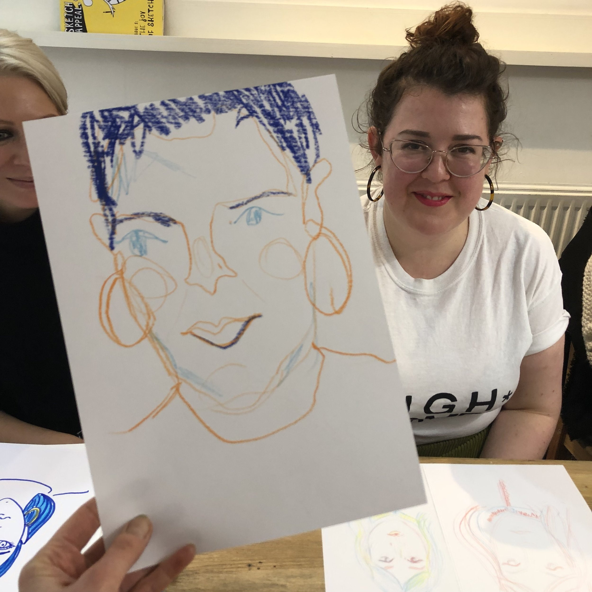 """the social sketchup is what drawing should be: accessible, supportive and FUN! - Emma Warfield - a familiar face at our events!"