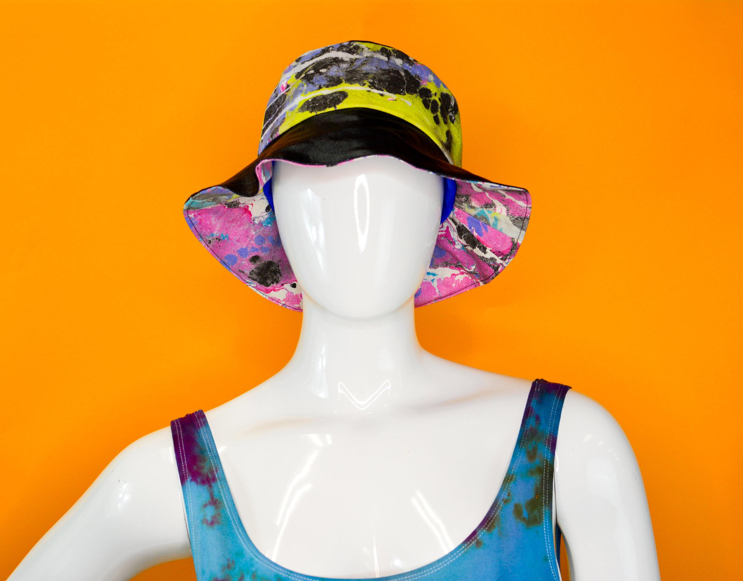 Purple marble bucket hat