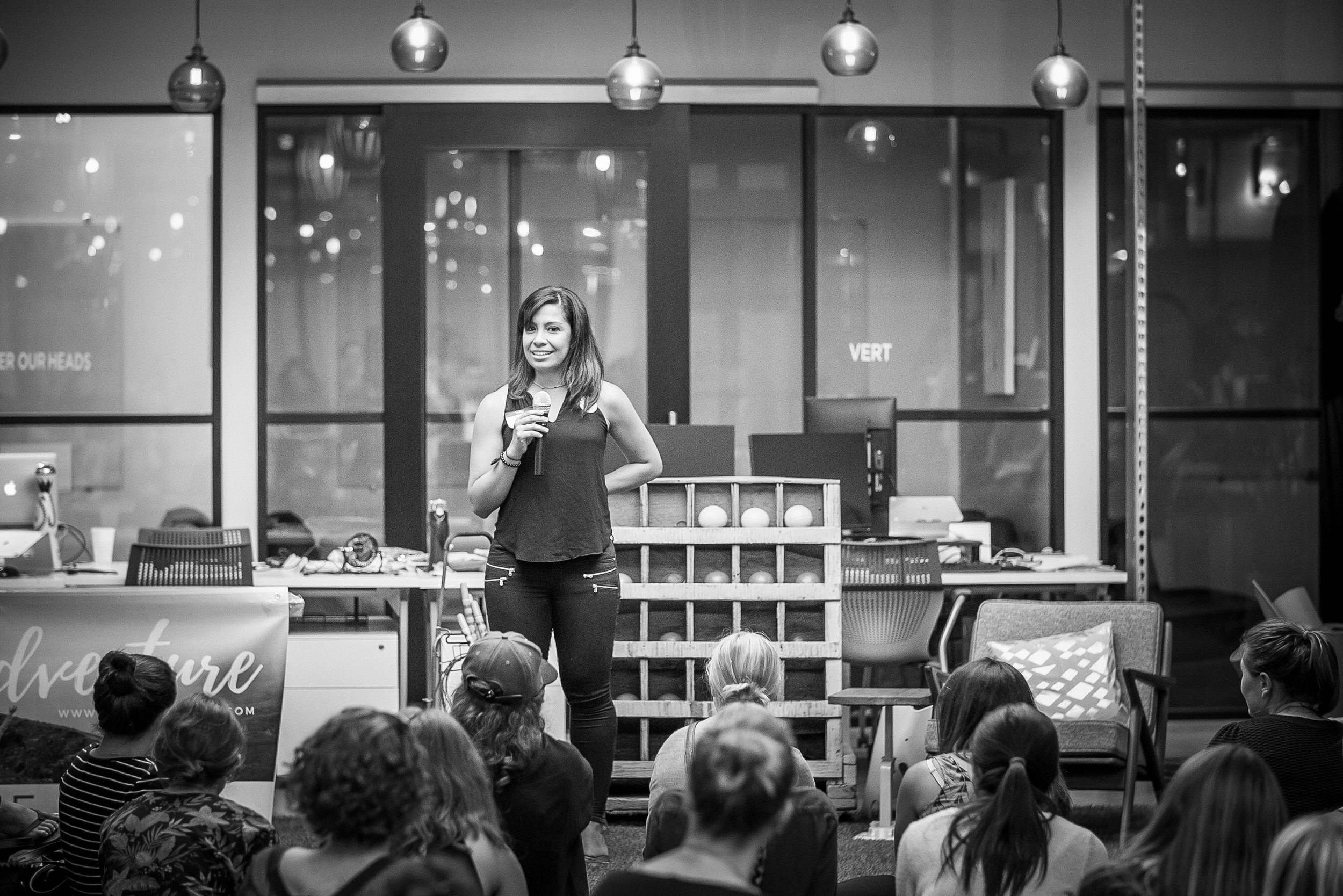 Georgina speaking at a She Ventures event in San Francisco.