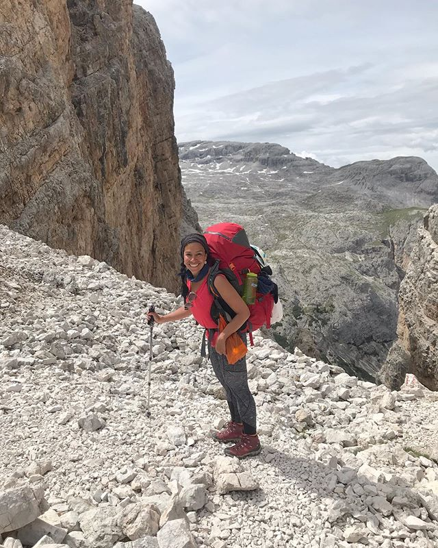 """People thought I was nuts with my 22 kilo (50 lb) pack that went up close to 500 meters on the pass (1500 feet). I'm at 2486m here. Bravissima!—was a word I heard a lot at the top. Lots of people do shorter hikes in these areas or don't carry a sleeping bag bc of the huts available.  This was over a week ago. It's hard to describe, but there is a beautiful feeling of having all you need be able to go on your back. You realize you really don't need so much. I've shed a lot of """"weight"""" over the years in material possessions and emotionally. There is so much beauty in simple living and time on the trail with my own two feet and human powered fuel remind me of that even more.  I shipped back about 4 kilos and I'll likely drop a few more before the next leg of the adventure which I'm excited to share.  I'm also still working while here and so I am carrying my laptop and power supply. I don't mind it and it's a beautiful moving """"office"""". Grateful for time in the mountains again, I had missed them so much this year. They always bring out the big smile, even with 50 lbs on my back!  @kathmandugear"""