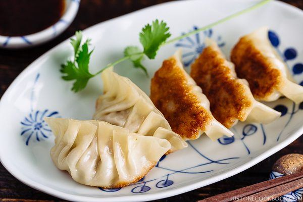 Gyoza: a Japanese dish consisting of wonton wrappers stuffed with pork and cabbage.