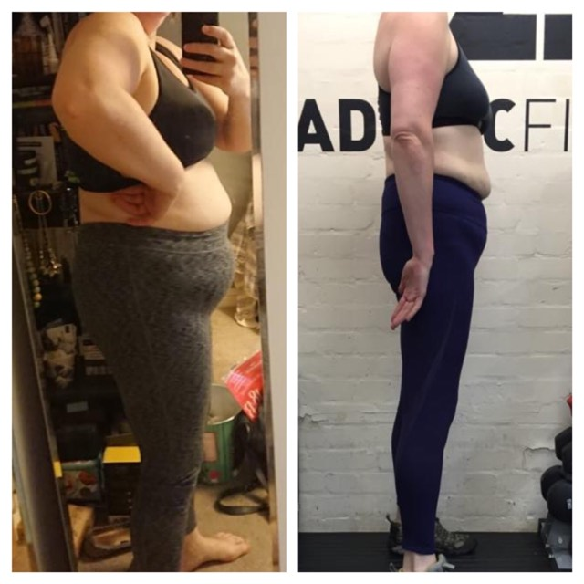 28kg difference between these photos. Truly amazing achievement - two strength sessions a week and total discipline to tracking and controlling her calorie intake has been the method behind this. Very proud of this one.