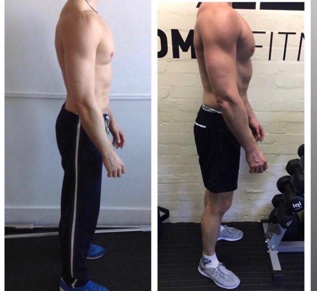 Training once a week in the studio and following a plan where he did 3 of his own sessions a week in the gym was the method behind this muscle gain transformation.