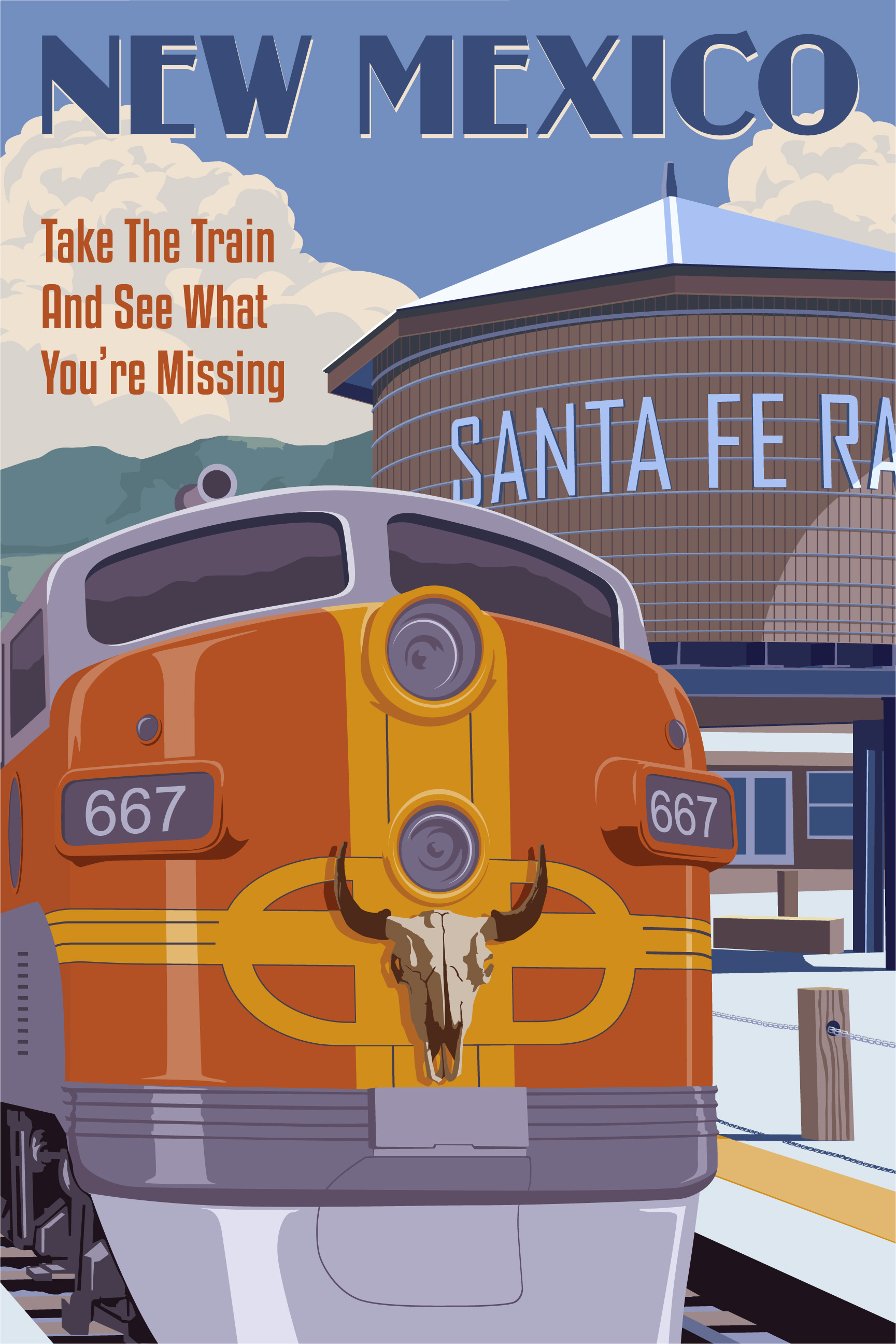 New Mexico Santa Fe Train by Steve Thomas