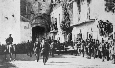 Gen. Edmond Allenby dismounts from his horse and enters Jerusalem on foot, December, 1917.