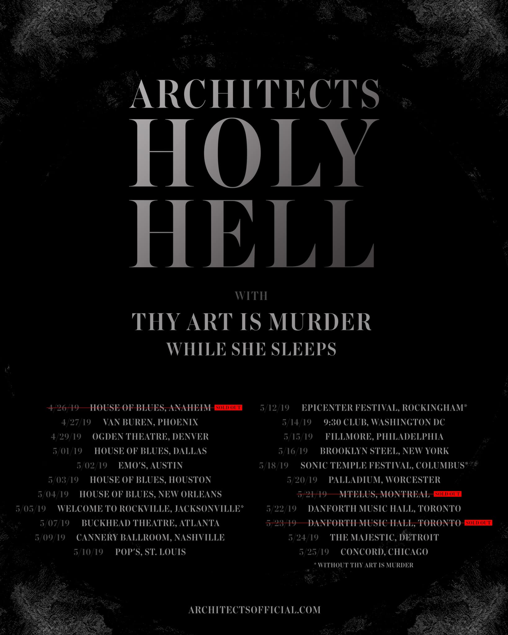 Architects - Venue: Cannery BallroomCity: Nashville, TNDate: May 9, 2019