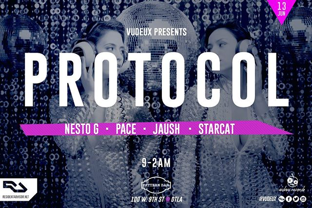 🔊🎶Thursday 6/13 // Vudeux presents #Protocol @patternbar // DJs Pace, Nesto G, Jaush, and Starcat // 100 w 9th St // 9-2am // House music all night long! . . .  #housemusic #deeptech #techno #residentadvisor #housemusiclovers #techhouse #deephouse #progressivehouse #electronicmusic #dancemusic #clubmusic #nightclub #la #losangeles #dj #producers #lanightlife #laparties