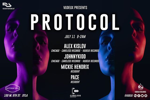 🔊🎶Thursday @patternbar 7/11 // Vudeux presents #Protocol with @carelessrecords // DJs Alex Kislov, JohnnyKidd, Mickie Hendrix, and Pace // 100 w 9th St // 9-2am // House music all night long! 🎶 . . .  #housemusic #deeptech #techno #residentadvisor #housemusiclovers #techhouse #deephouse #progressivehouse #electronicmusic #dancemusic #clubmusic #nightclub #la #losangeles #dj #producers #lanightlife #laparties #chicagohouse #chicagohousemusic