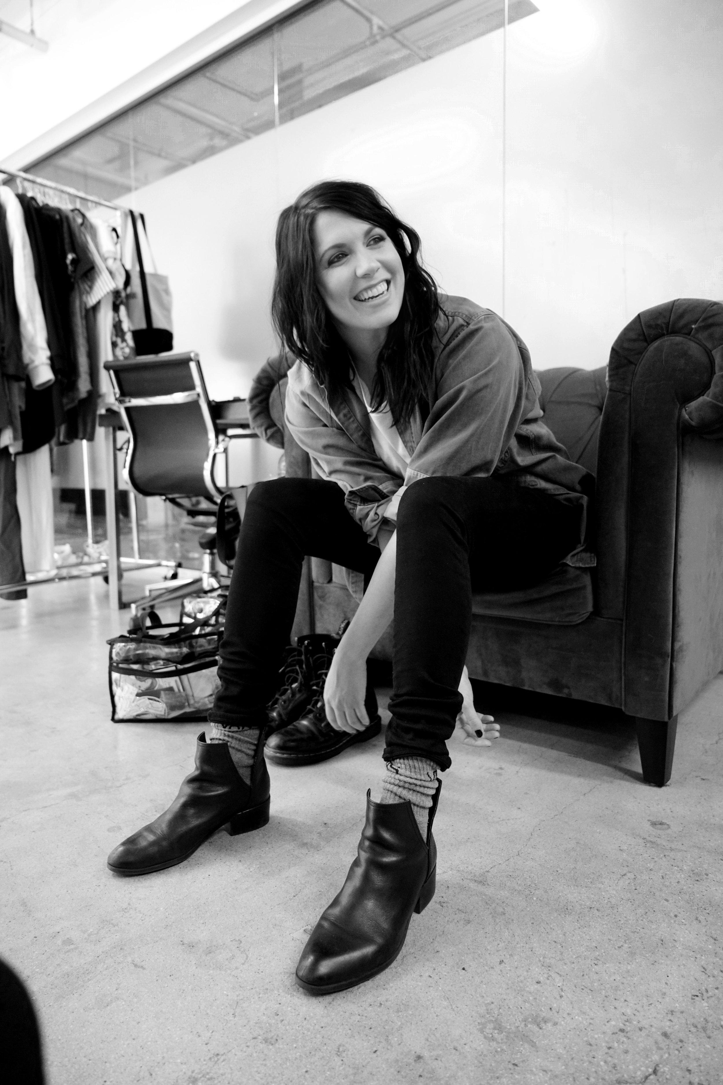 Jacket: Vintage. Shirt:  Sub_Urban Riot . Jeans:  AGOLDE . Socks:  Vans . Boots:  Sole Society .