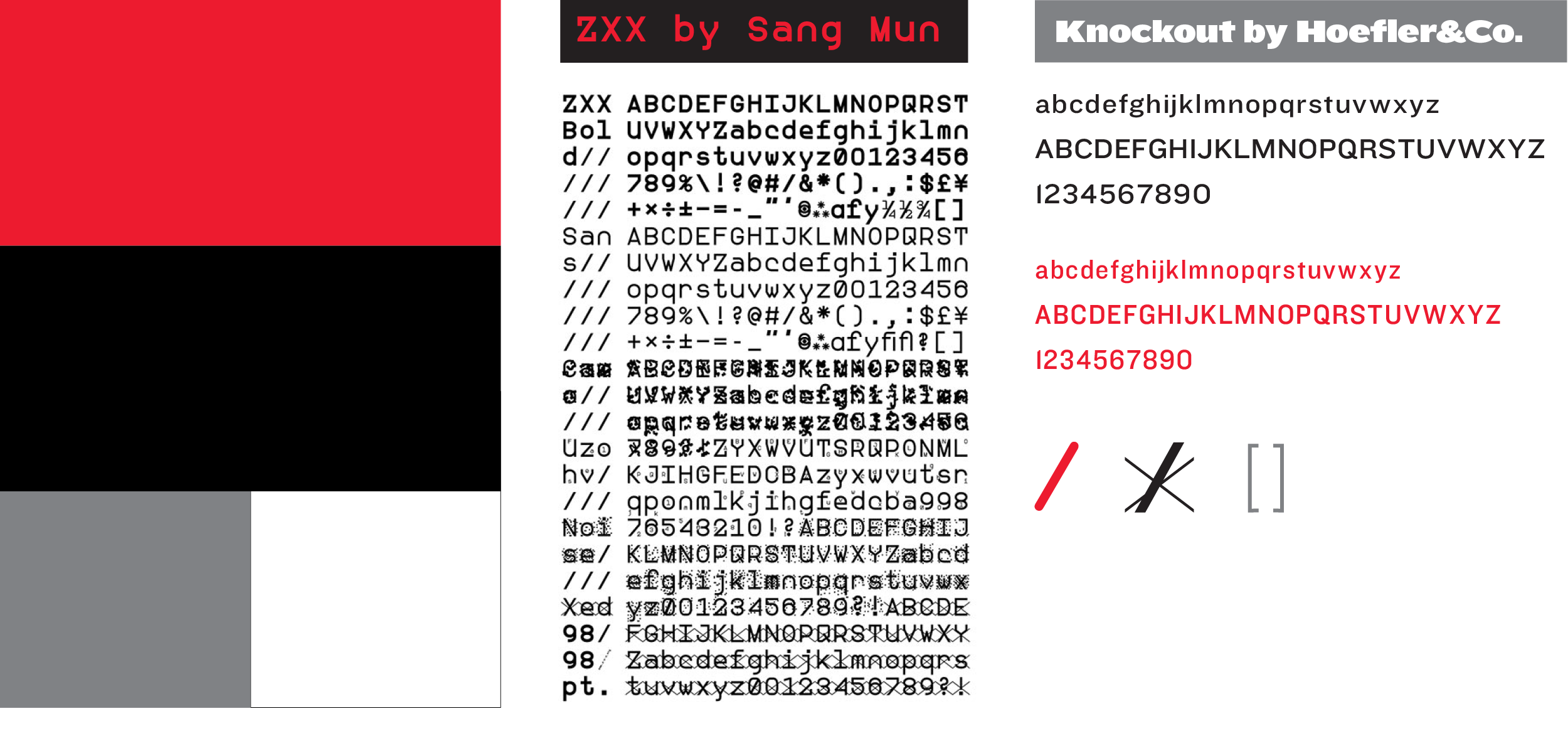 Typeface   ZXX typeface is played out throughout the book in headings, chapter markers, and navigation. It is designed to obfuscate the meaning of the written characters for OCR software and machine intelligence. ZXX is a hero of Part 2 of the book that provides a deeper context for its usage.  Knockout is used for body copy and secondary narrative. One of my favorite typefaces for its versatility — it has 32 weights that differ from very condensed to very expanded and from hairline to black. I picked a slightly extended version (HTF32) for body copy as it reads better over various backgrounds and a condensed version (HTF31) for secondary narrative as it has to fit in a tight space.   Color palette   Clean, simple versatile, yet powerful color combination lets the chapter content to shine while establishing the right tone for different chapters.