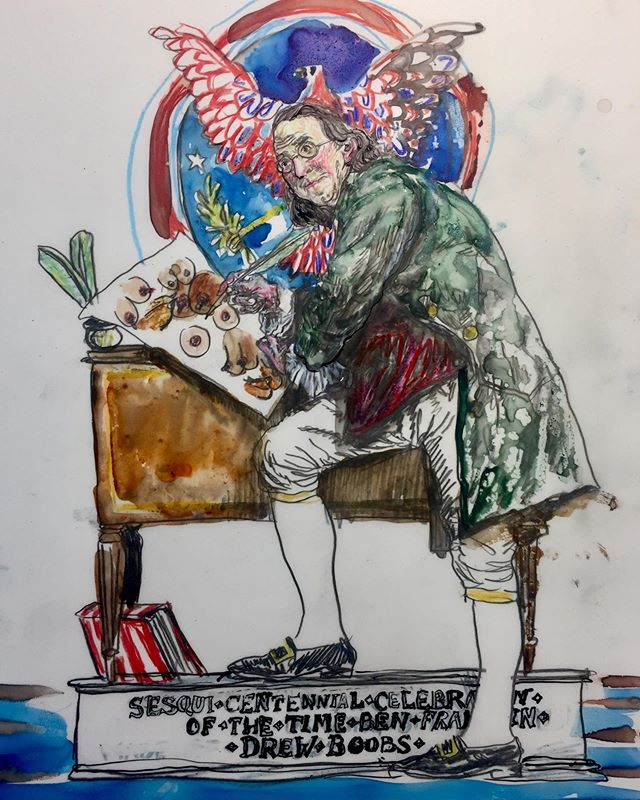Ben Franklin drawing boobs