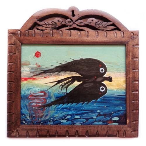 """A Memory of Mardin I""  acrylics on wood, 25 x 25 cm."