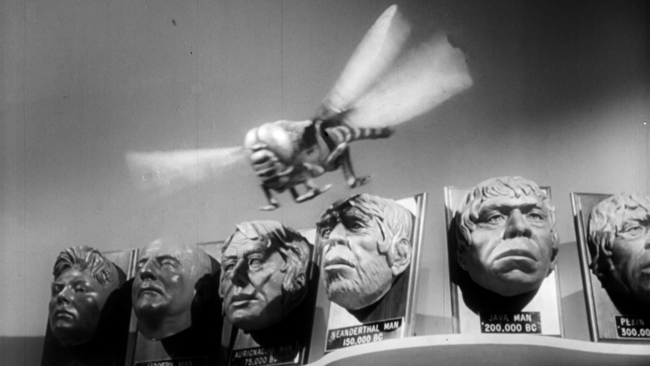 Still-frames from  Monster on the Campus  (1958), compiled  here. *