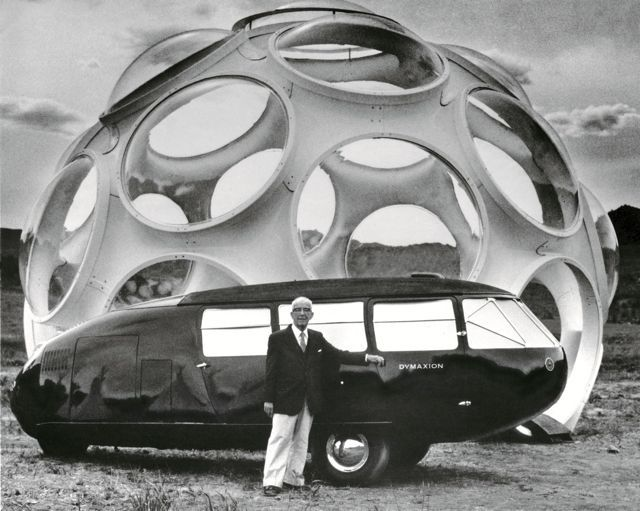 """Top: Normal Foster recreates Buckminster Fuller's with Dymaxion Car  (source: www.archdaily.com) , photographer unknown. 