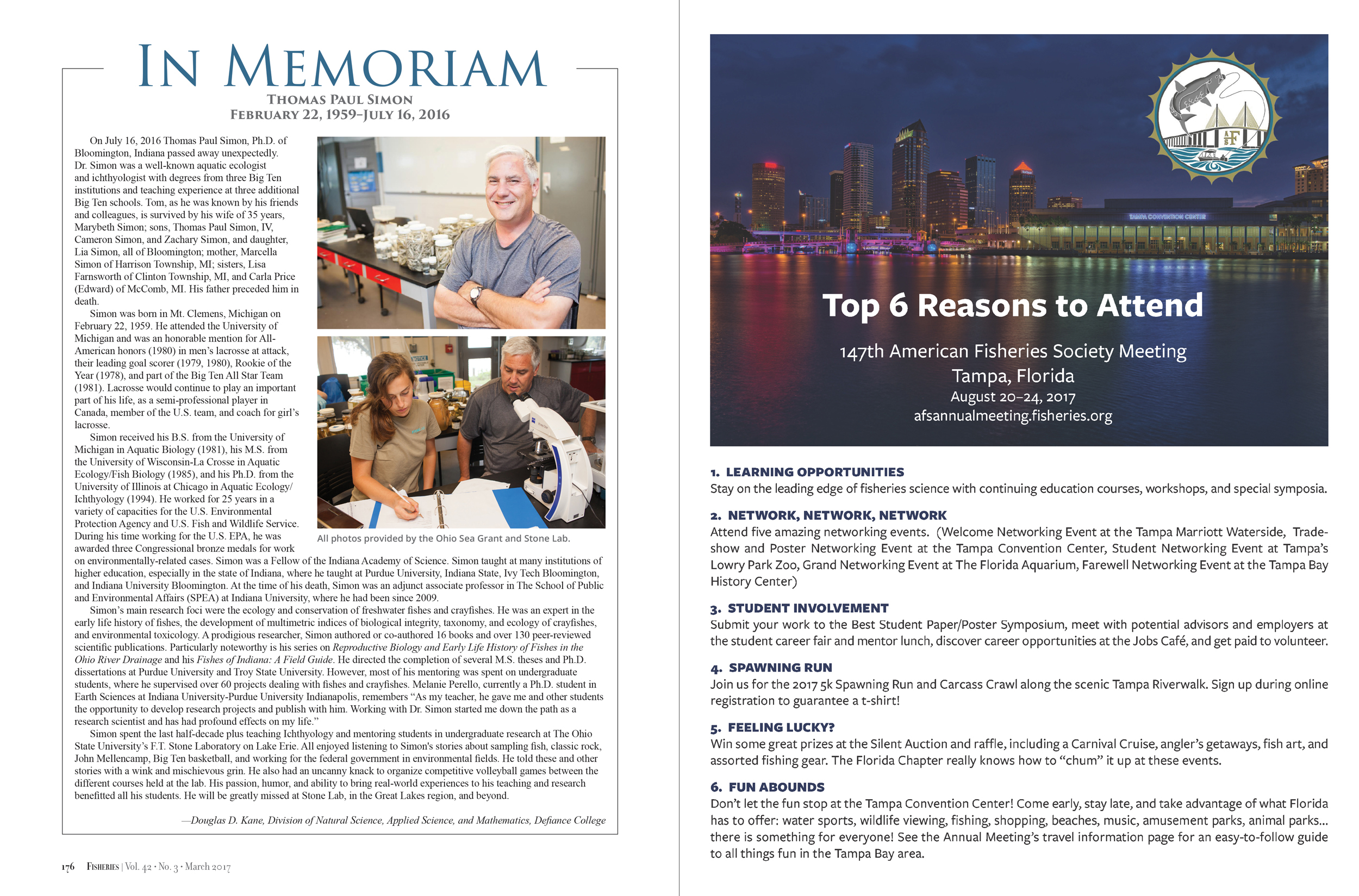 Fisheries Magazine, In Memoriam and Conference Promo (American Fisheries Society)