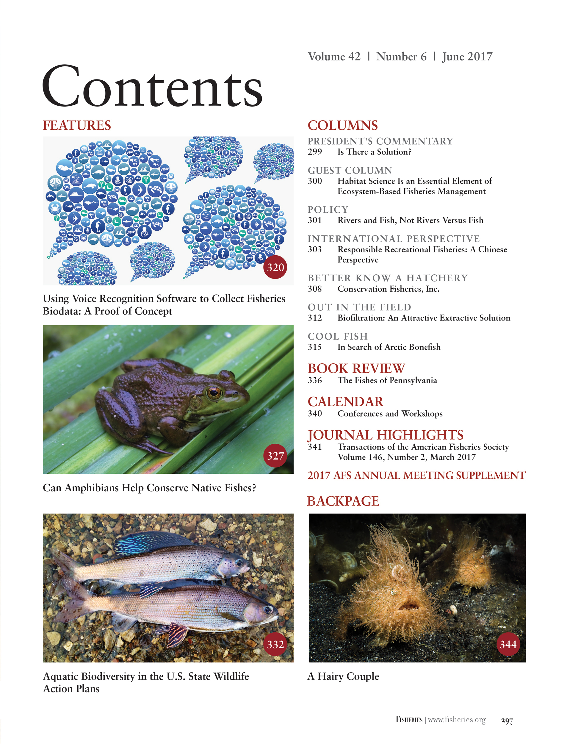 Fisheries Magazine, Table of Contents (American Fisheries Society)
