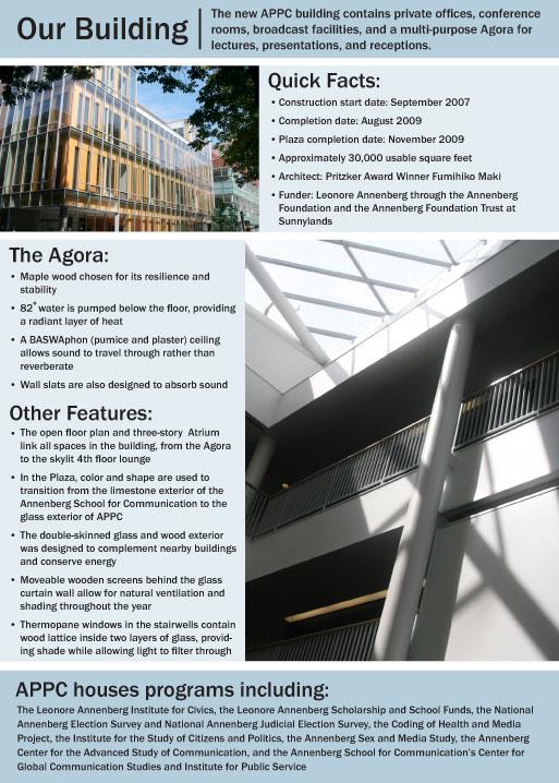 Building information flyer, Annenberg Public Policy Center, University of Pennsylvania