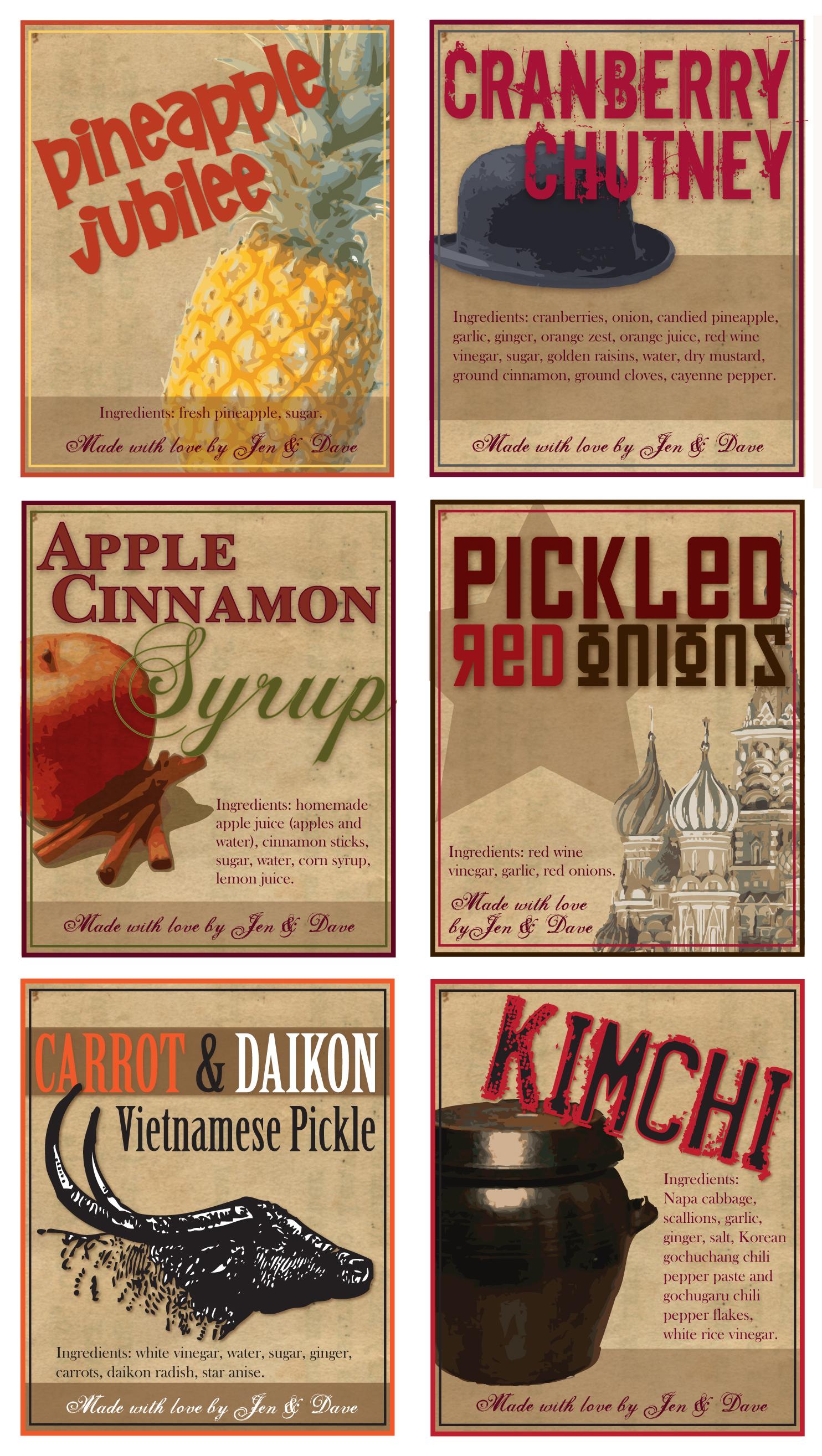 Food jar labels, Personal project