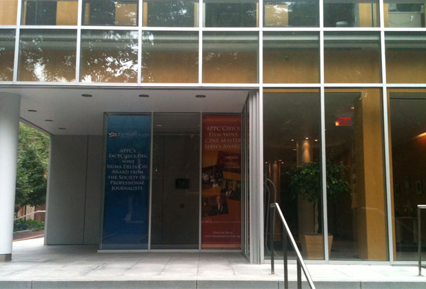 Window banners, Annenberg Public Policy Center, University of Pennsylvania