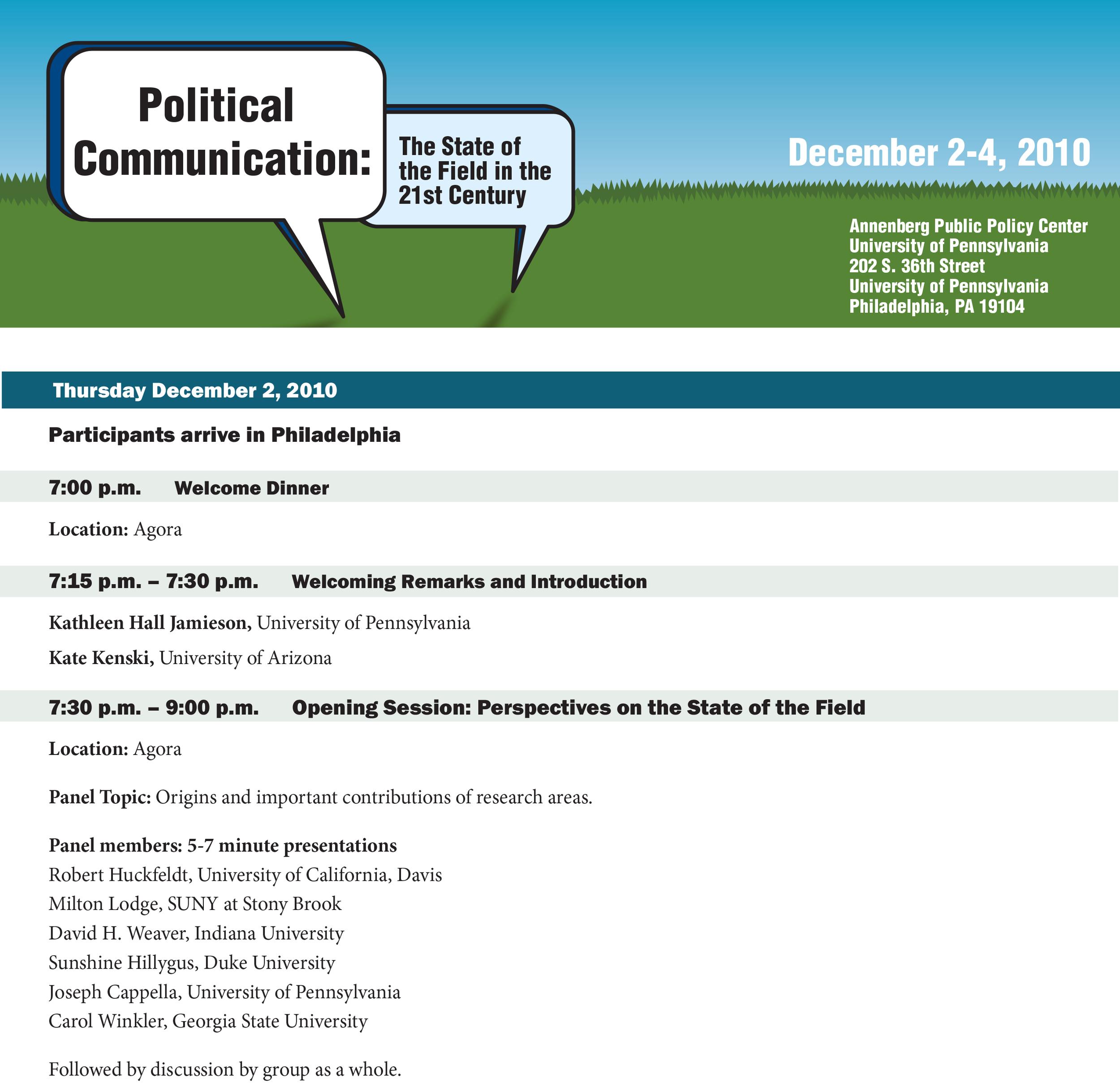 Conference agenda, Annenberg Public Policy Center, University of Pennsylvania