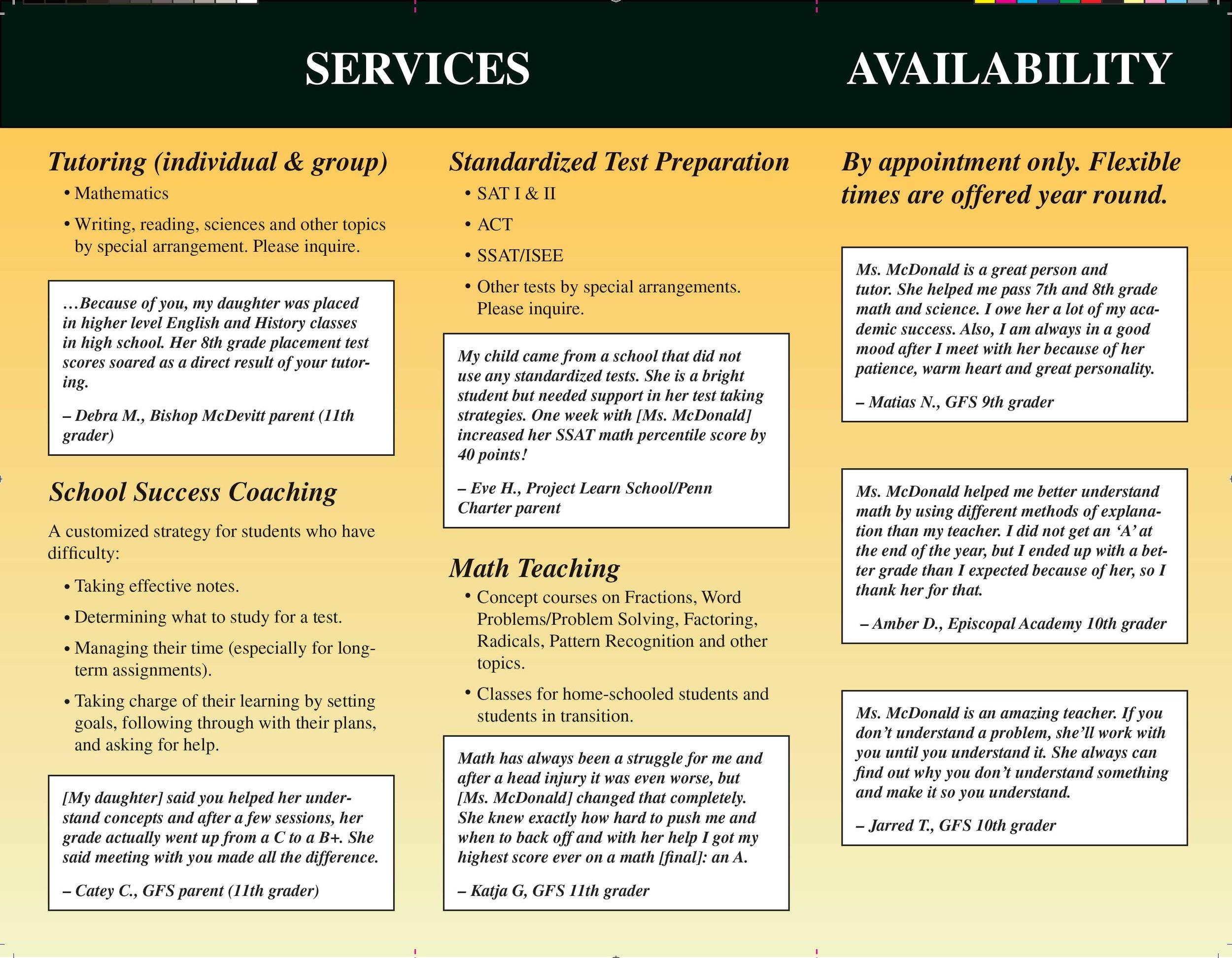 Trifold brochure, private tutor