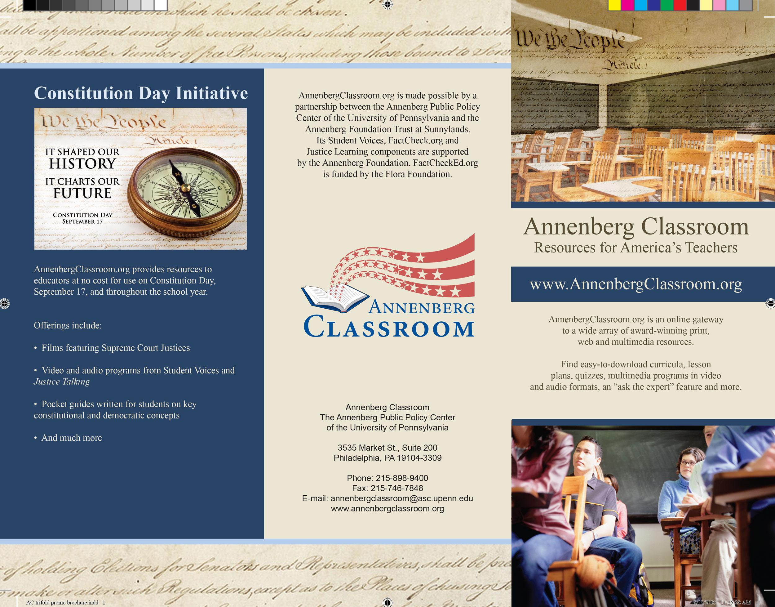 Trifold Brochure, Annenberg Public Policy Center, University of Pennsylvania