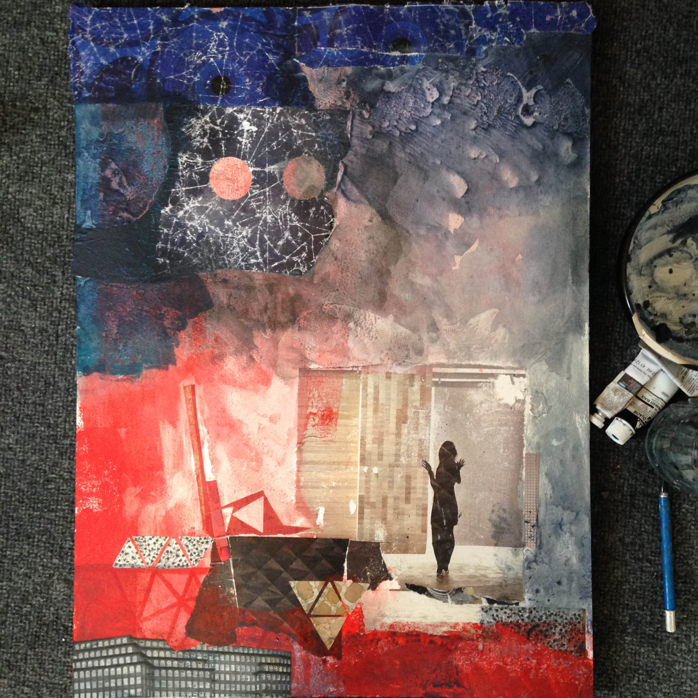"""Mixed media collage on watercolor paper, 18"""" x 24"""", in progress."""