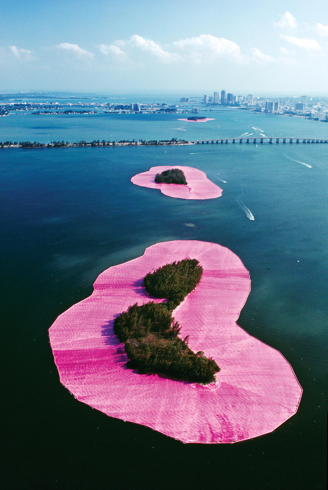 Christo 'wrapped' islands in Florida