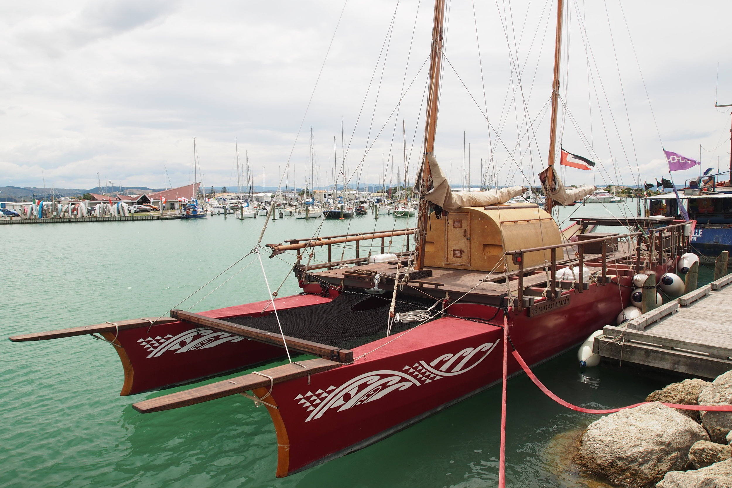 The voyaging waka Te Matua a Maui, seen here at Napier's Ahuriri Marina in January 2018, will conduct a survey of plastic debris as it sails south along the East Coast to Wellington, where it will join other 'vaka' and waka taua (Maori war canoes) at a  regatta to launch the Wellington International Arts Festival on 23 February.