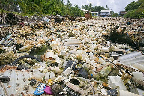 Plastic waste on the Pacific island of Tuvalu