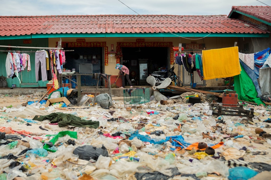 Not in my back yard? Plastic waste on the Cambodian coast at Sihanoukville.