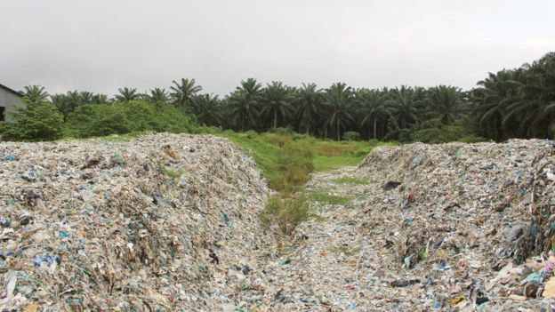 Open landfills of imported plastic waste blight the landscape of Jenjarom, near Malaysia's biggest port, Port Klang. Imports by Malaysia, mainly from Western countries, have tripled since 2015, and Jenjarom's residents have had a gutsful. Photo and story: BBC News