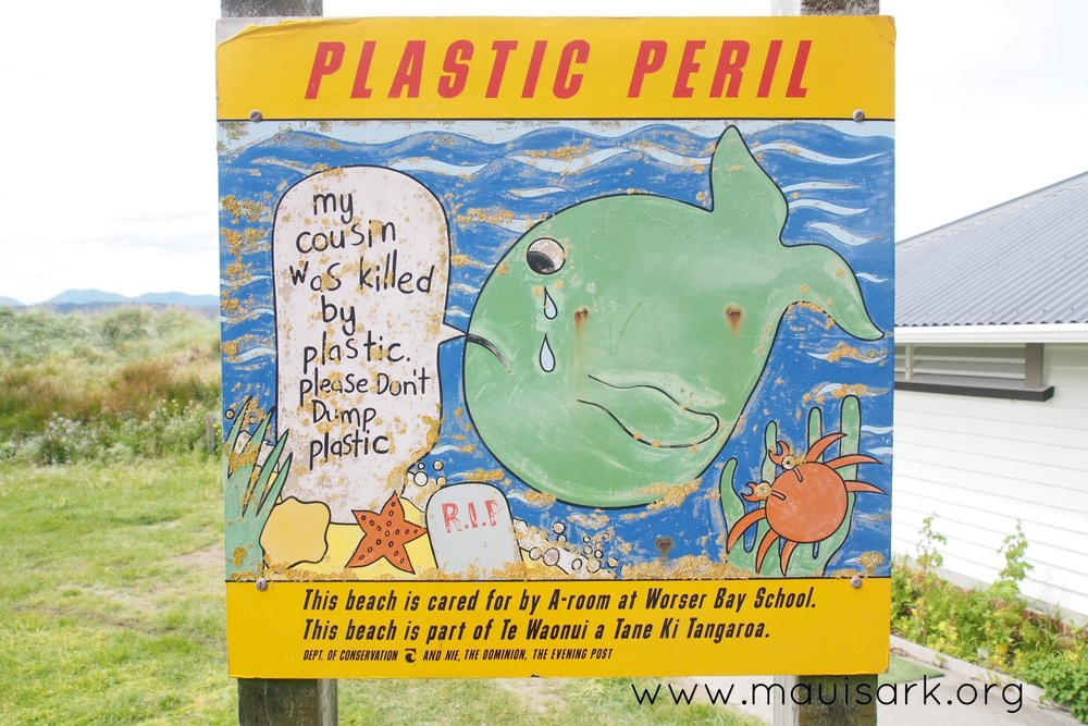 Sign on a Wellington beachfront park. New Zealand Prime Minister Jacinda Ardern said, when launching the public consultation process that has led to the ban, that she received more letters expressing concern about throwaway plastic bags than about any other issue, and most of these letters were from children.