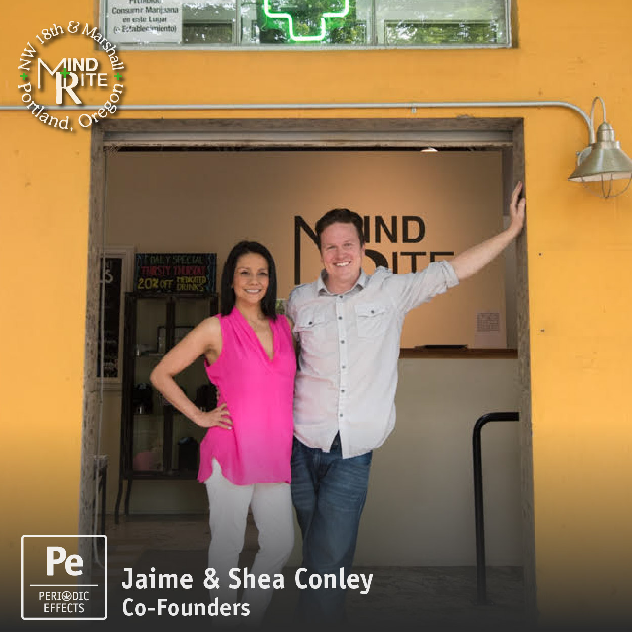 Jaime Conley and Shea Conley, Co-Founders of Mindrite, a cannabis retailer in Portland, Oregon