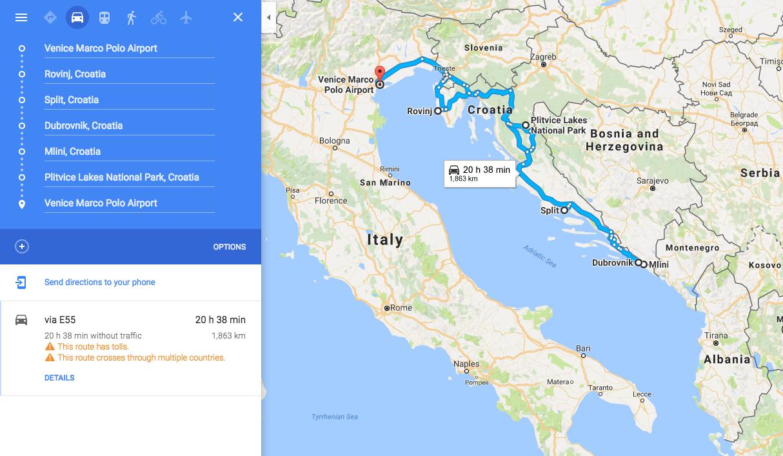 Croatia Road trip. Our Route Through Croatia