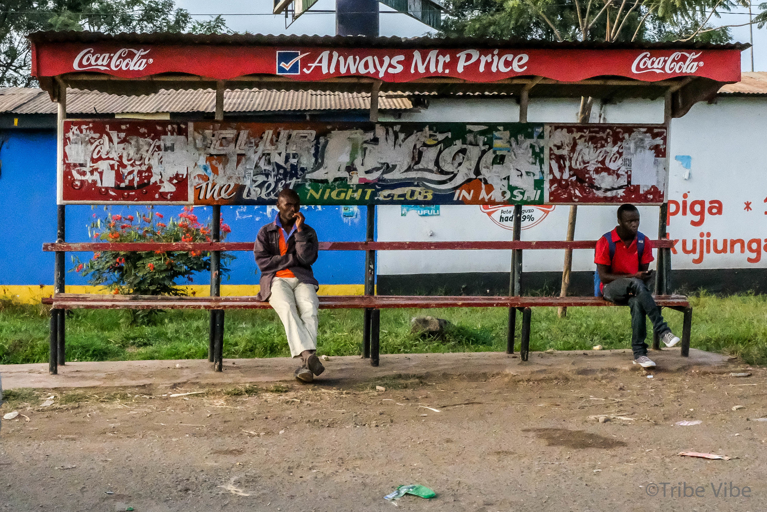 Waiting for the bus in Moshi, Tanzania