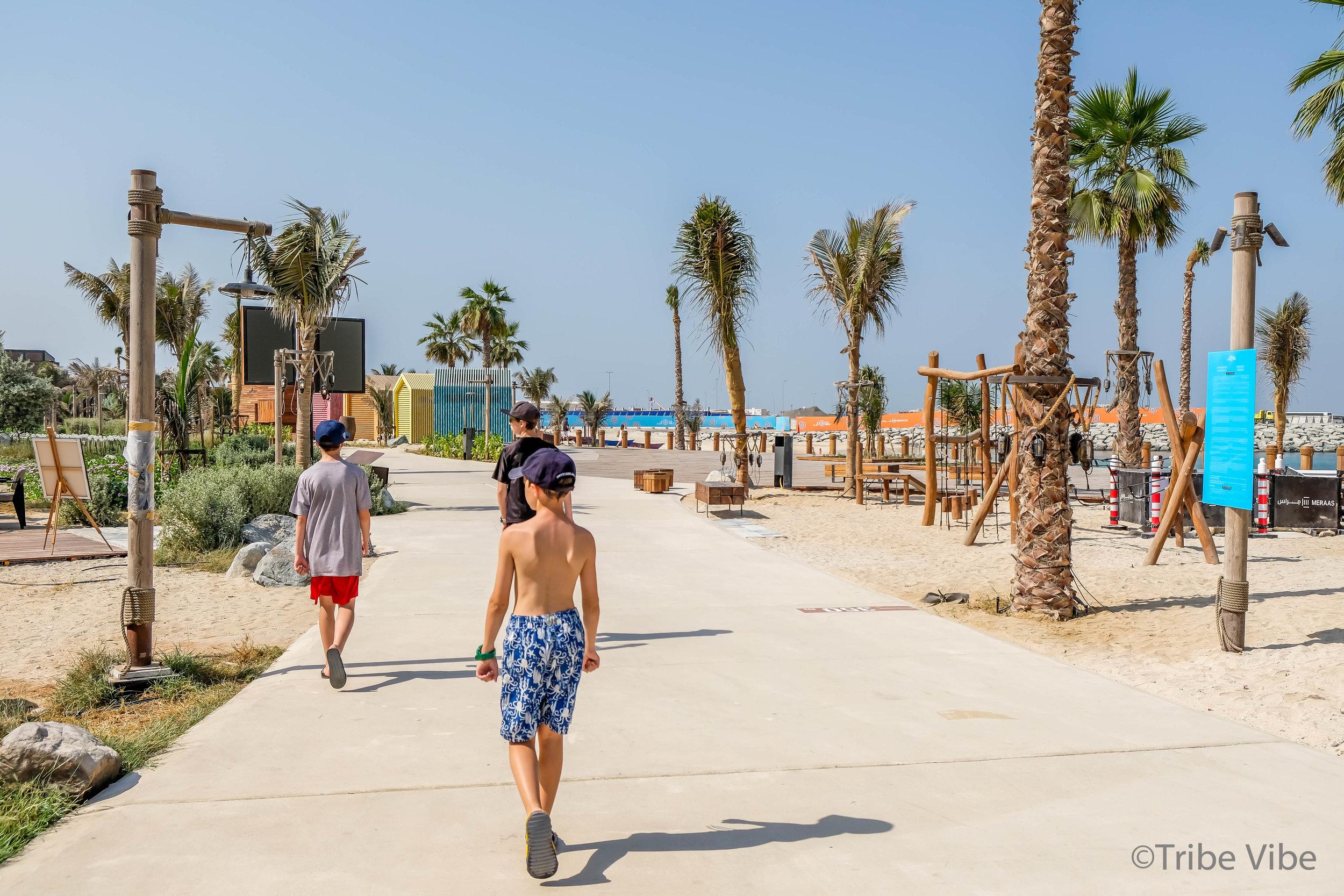 The boys really loved the new beach front of La Mer, Dubai